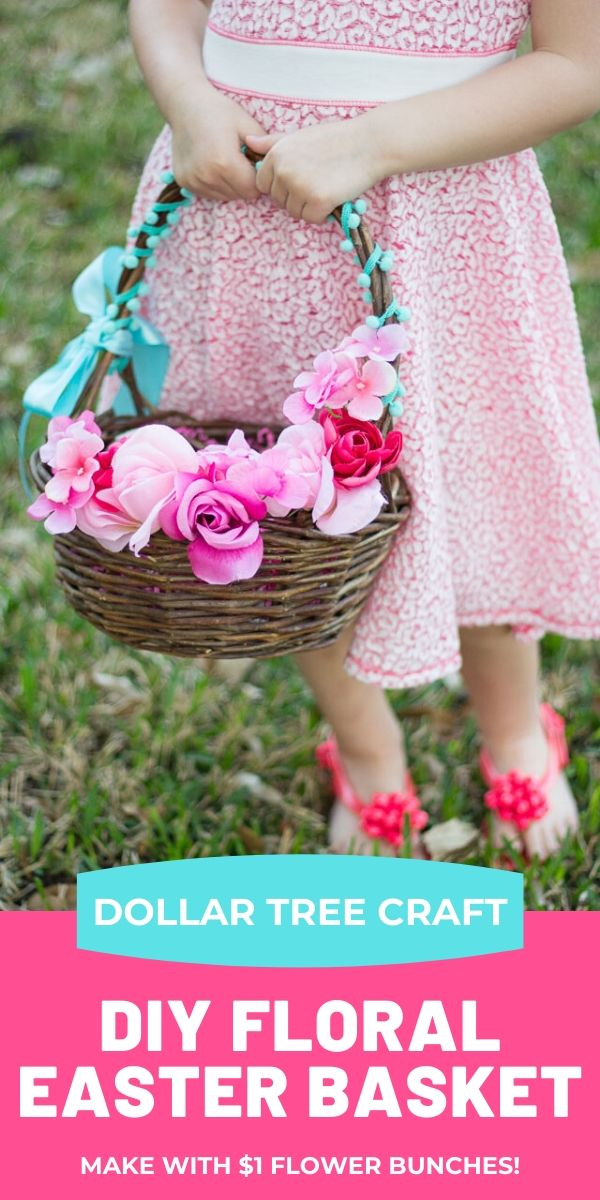 Dollar Tree DIY Easter Basket with Flowers