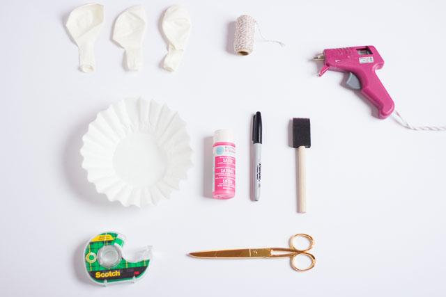 Supplies for Easter bunny balloons