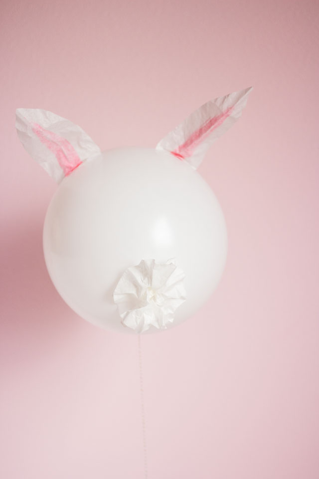 Make the cutest Easter bunny balloons with coffee filters and a Sharpie!