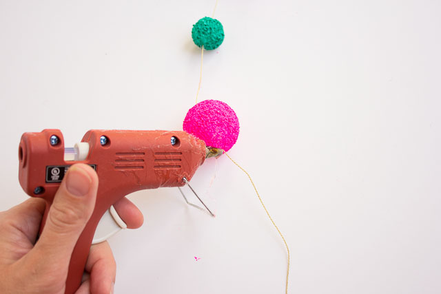 How to string foam balls into a garland