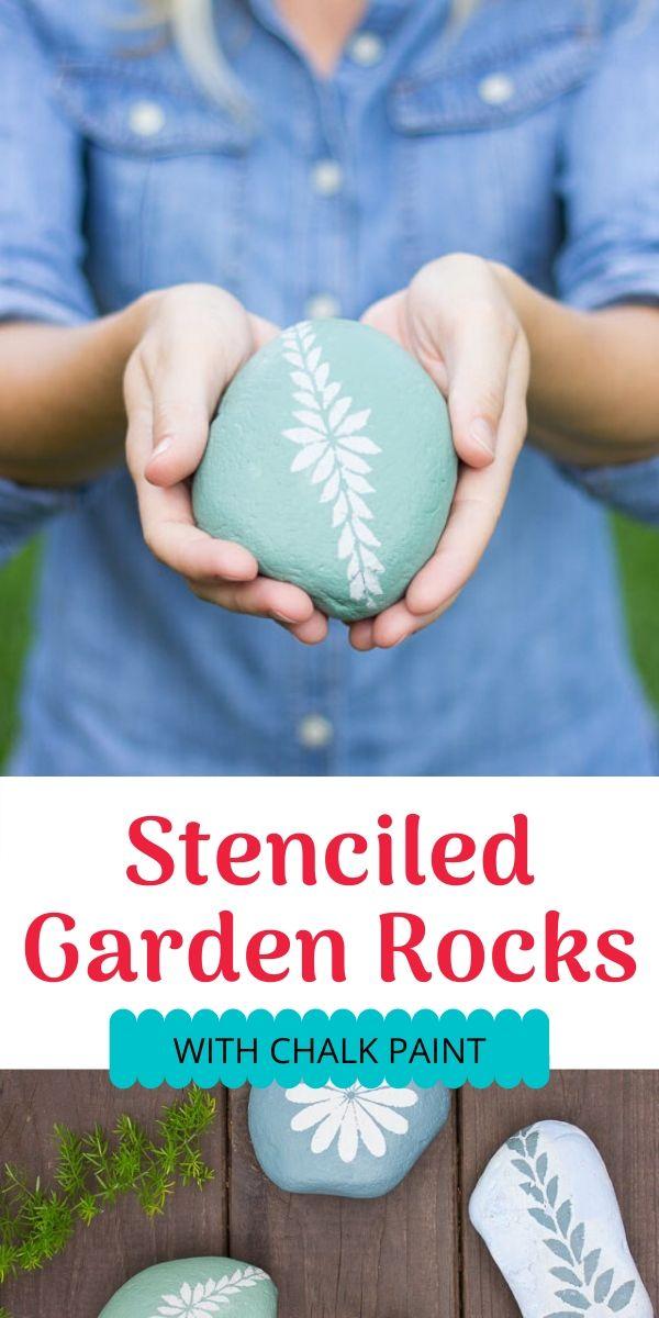 DIY Stenciled Garden Rocks