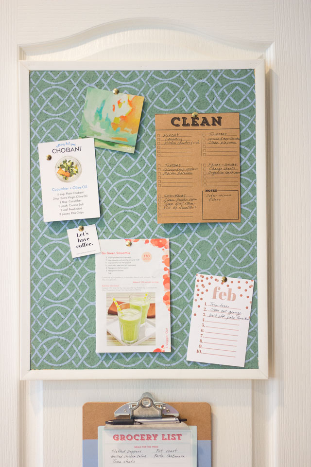 Stenciled cork board