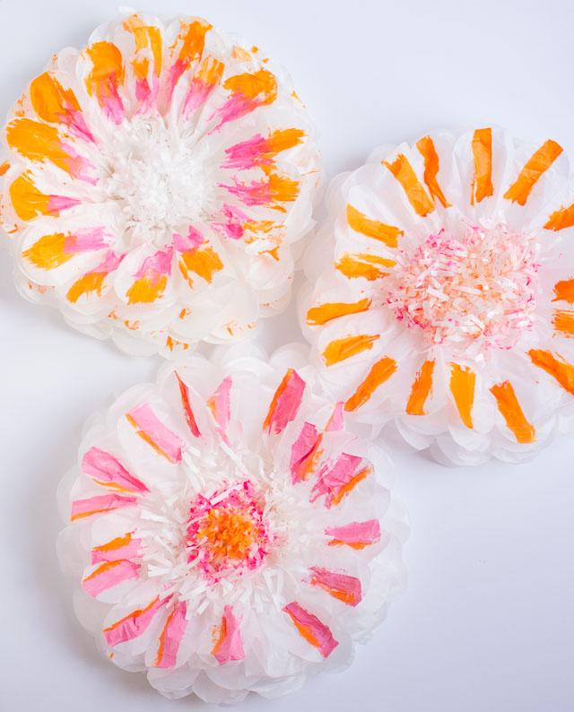 Brushstroke painted tissue paper flowers