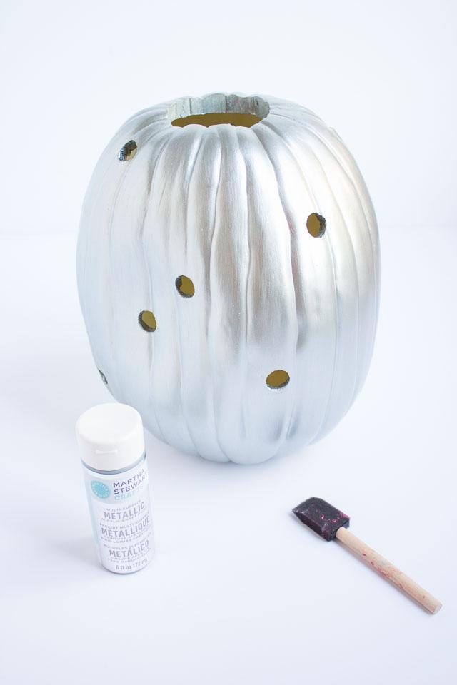Metallic silver craft pumpkin