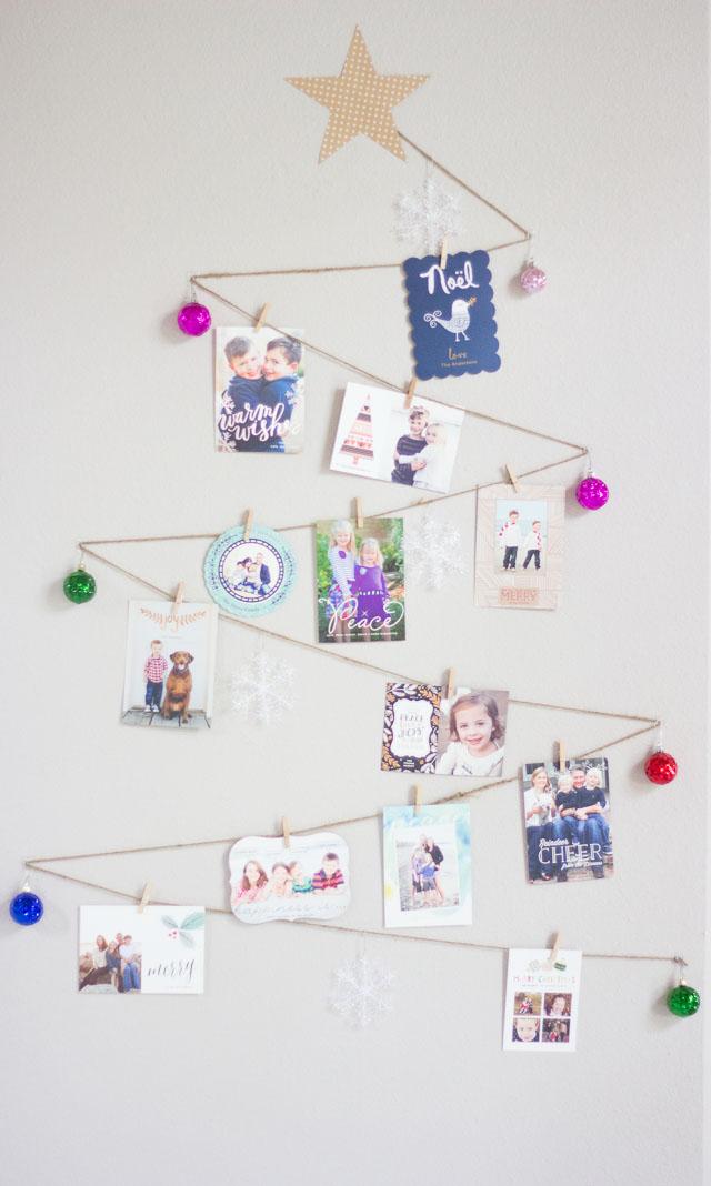 Christmas tree holiday card holder idea