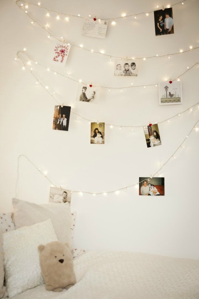 White Lights Holiday Card Garland