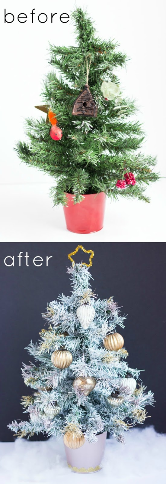 Thrifty DIY: Spray painted Christmas tree makeover