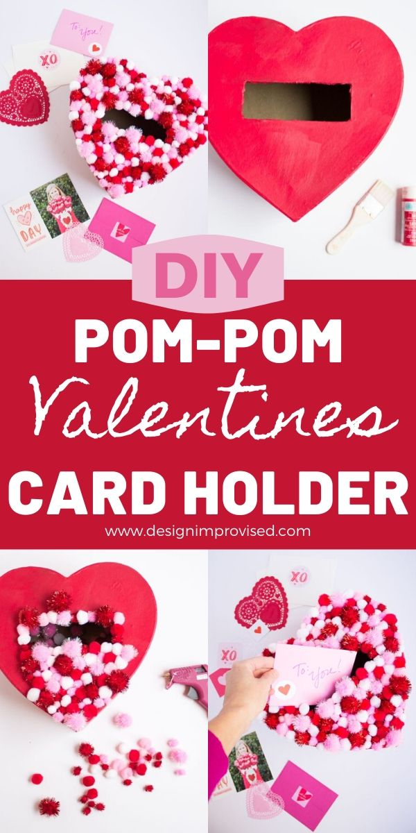 DIY Pom-Pom Heart Valentine Box
