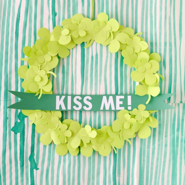 Love this DIY paper shamrock wreath for St. Patrick's Day!
