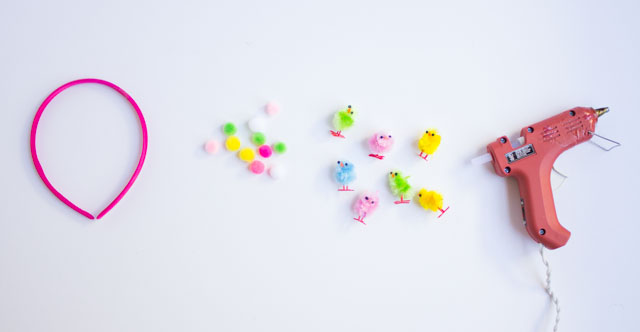 Supplies for DIY baby chick Easter headbands