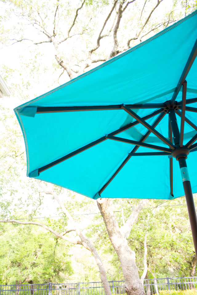 Pretty outdoor patio umbrella in Aruba blue