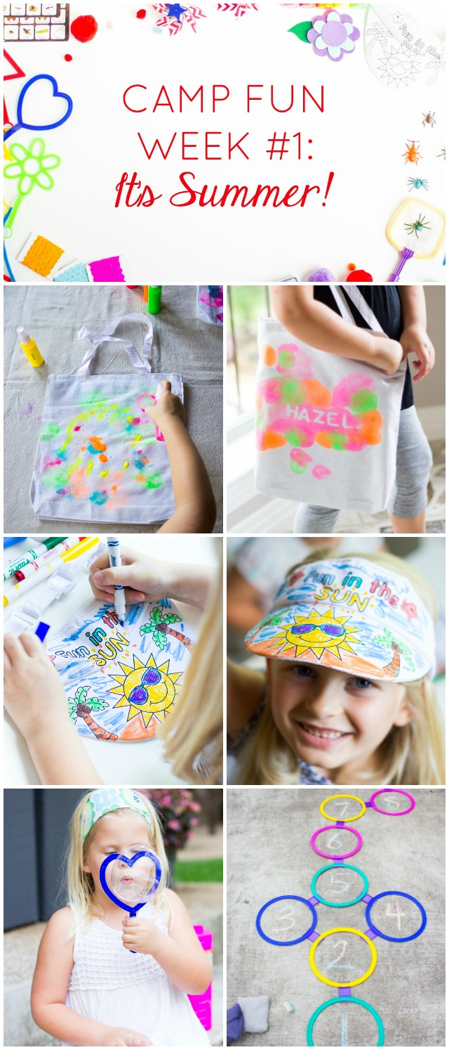 Welcome to Camp Fun - a 7-week at-home kids summer camp program filled with crafts and activities you can do at home!