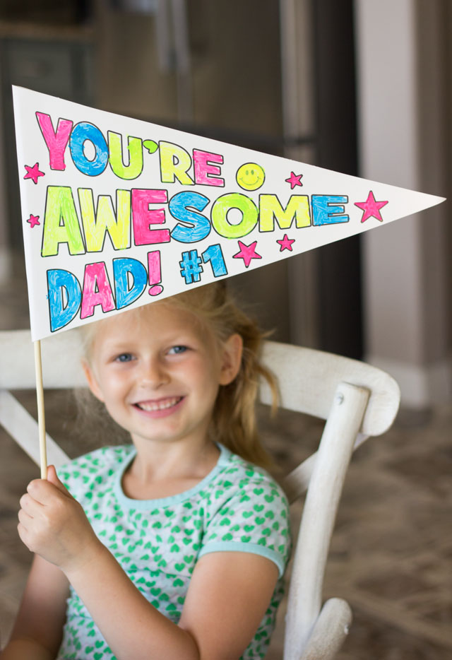 You're Awesome Dad - color your own Father's Day pennants!