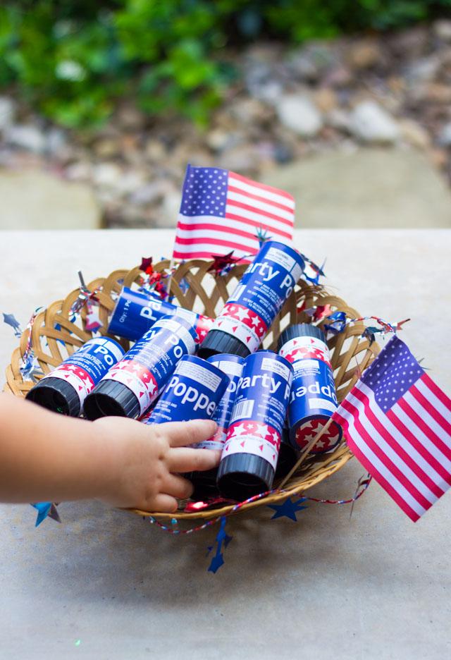 Patriotic confetti poppers - a kid-friendly alternative to fireworks!