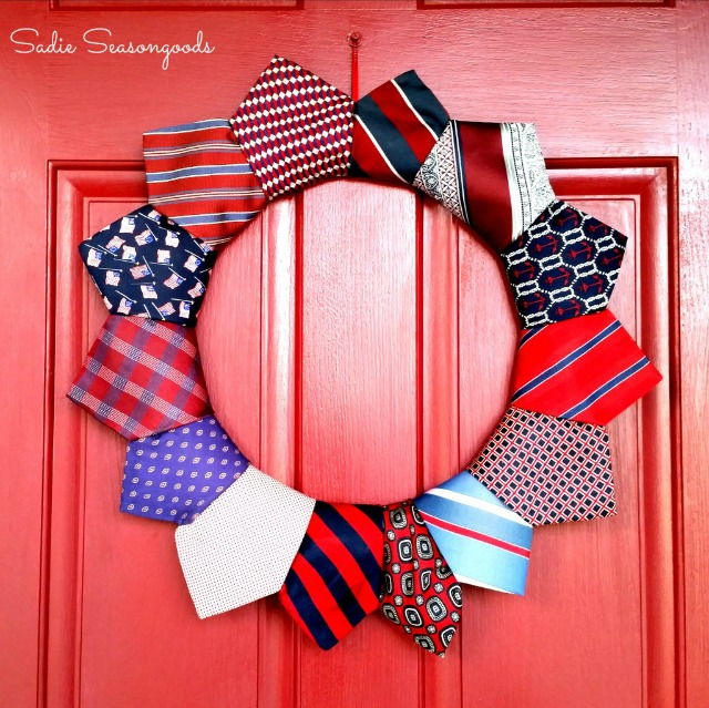 Patriotic tie wreath - a great thrift store project!