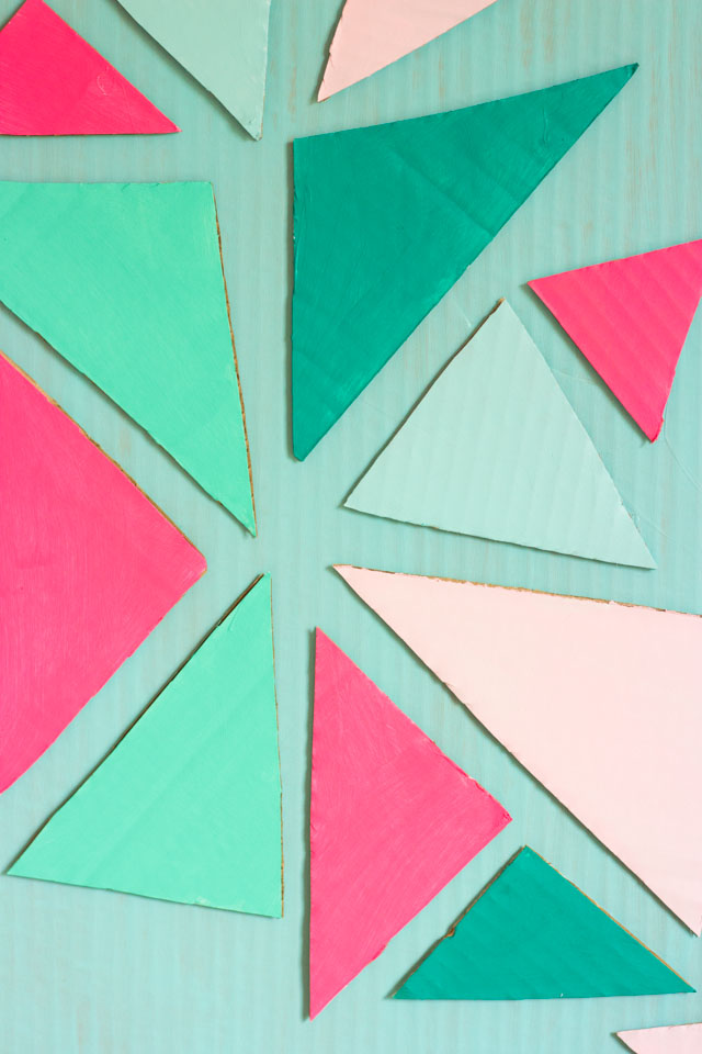 Painted cardboard triangles