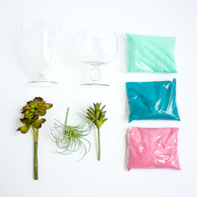 Supplies for sand art succulent terrariums