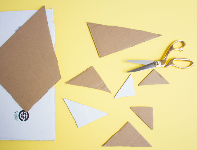 How to cut a cardboard box into triangles