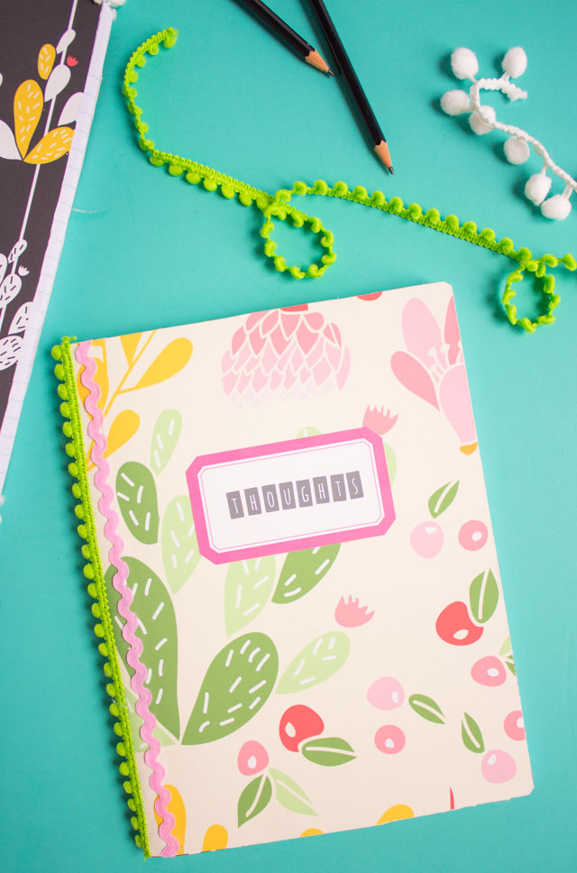 Such an easy way to transform a composition notebook for back-to-school!