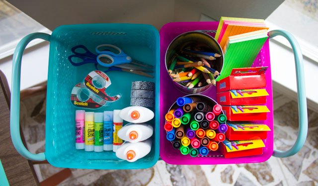 A cart and colorful baskets are great for corralling school supplies!