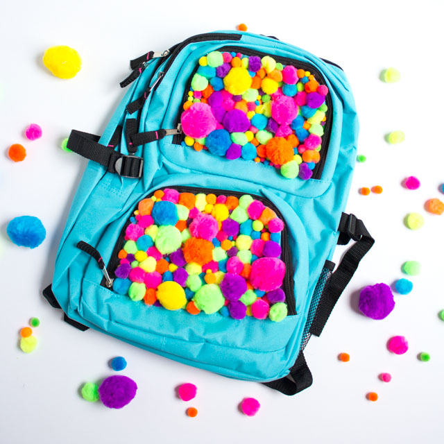 Transform an inexpensive backpack into an awesome pompom backpack!