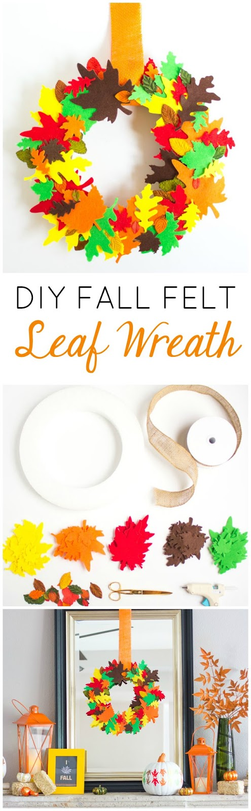Make this gorgeous DIY fall leaf wreath in under an hour with pre-cut felt leaves!