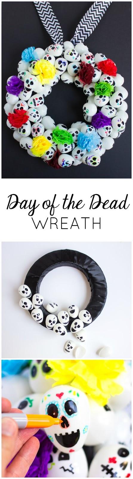 Make a Day of the Dead (Dia de los Muertos) wreath with plastic skull eggs!