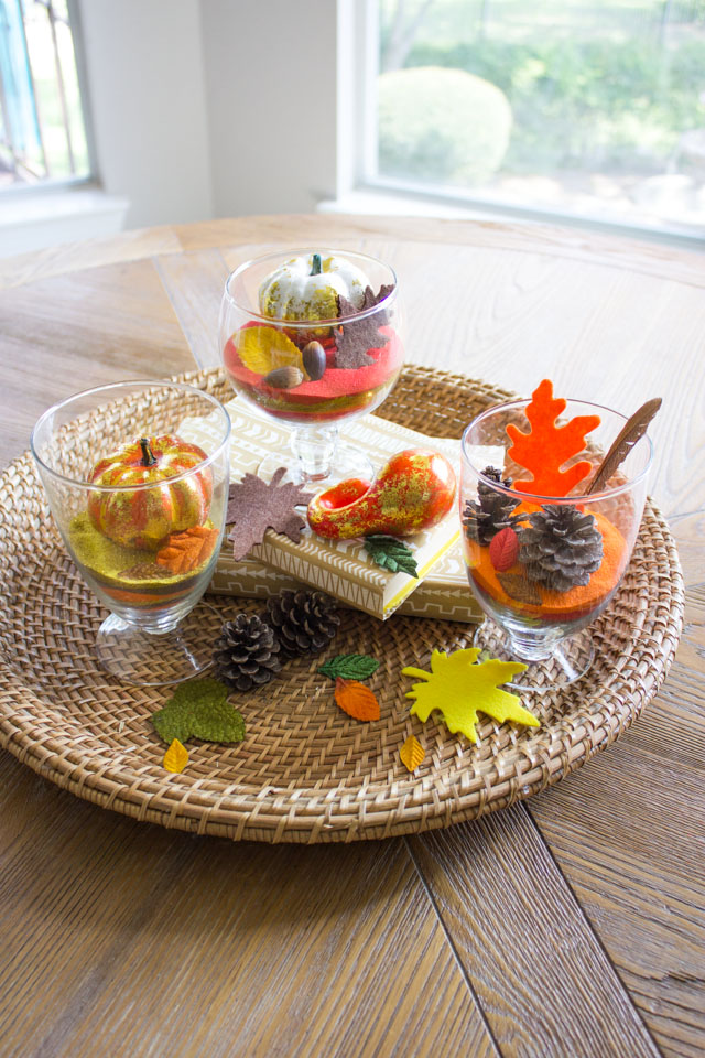 This grouping of terrariums makes such a pretty fall centerpiece!
