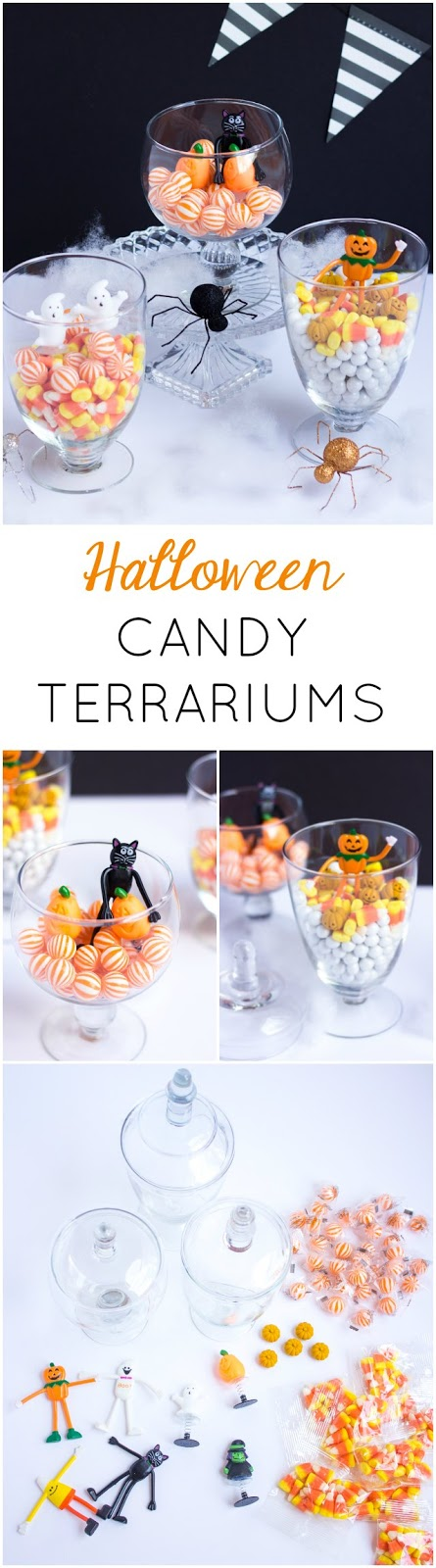Fill glass jars with candy and figurines to make these cute DIY Halloween Terrariums!