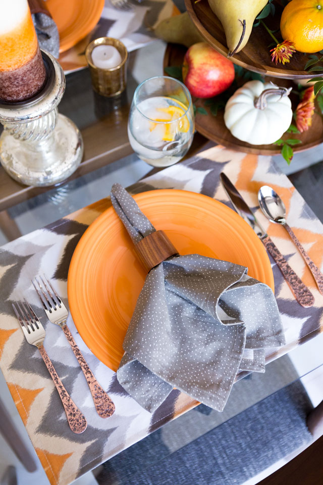 Beautiful fall harvest place setting with items from hayneedle.com
