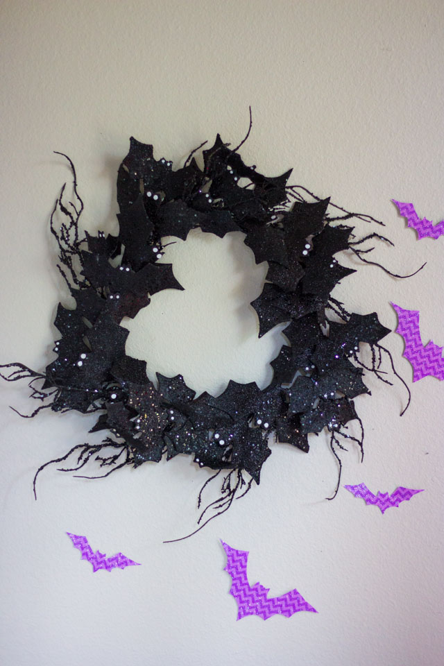 A cute black glitter bat wreath from At Home stores!