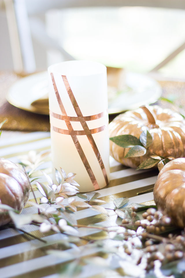 Wrap battery operated candles with copper foil tape for pretty fall decor!
