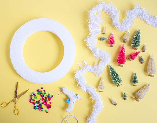 Supplies for DIY mini Christmas tree wreath