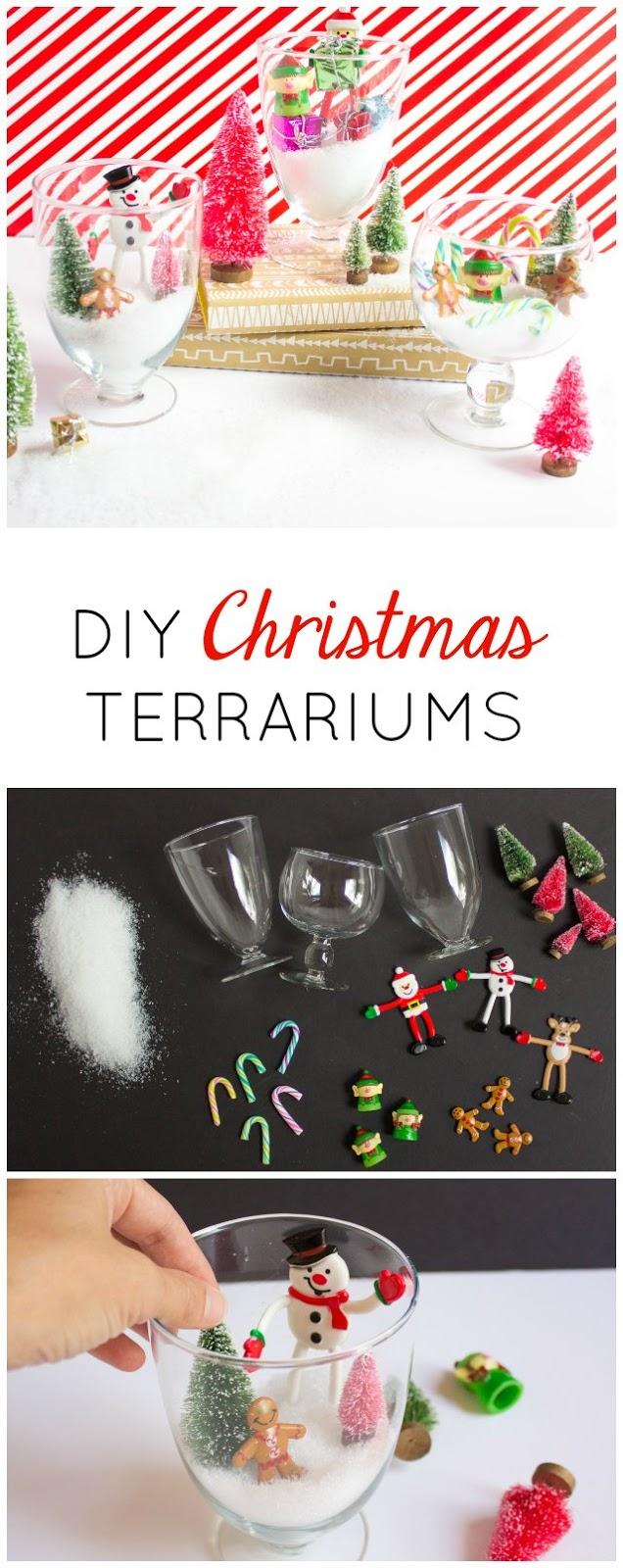 Such a fun Christmas centerpiece decoration - DIY mini Christmas terrariums!