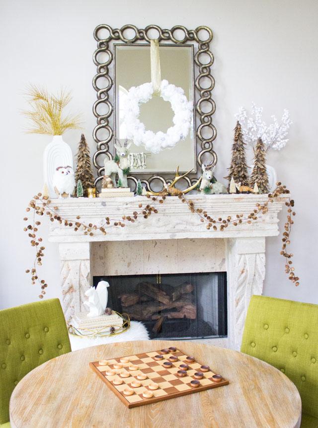 Modern winter Christmas mantel ideas