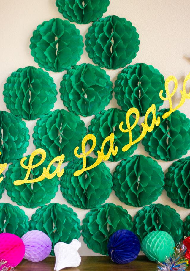 Fa La La La La Garland and honeycomb tissue balls from Oriental Trading