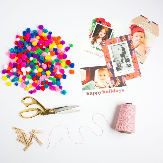 Supplies to make a Christmas card display
