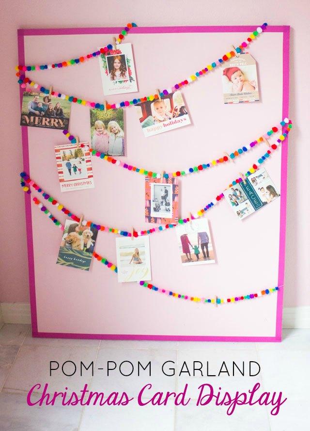 Make this sweet pom-pom garland Christmas card display!