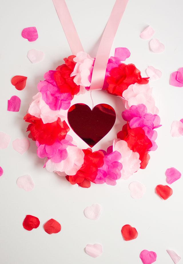 DIY Faux Rose Petal Wreath - so pretty for Valentine's Day!
