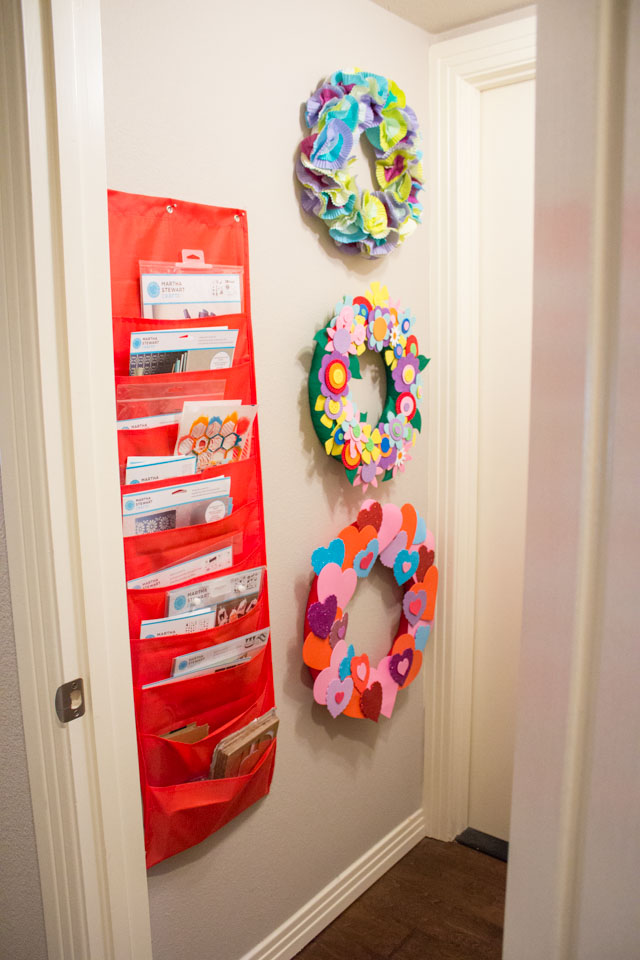 Use a hanging file holder to organize stencils and other paper craft supplies!