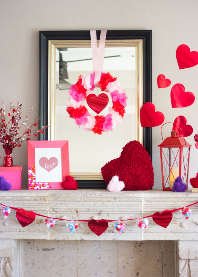 Love this Valentine's Day mantel filled with lots of DIY Valentine decoration ideas!