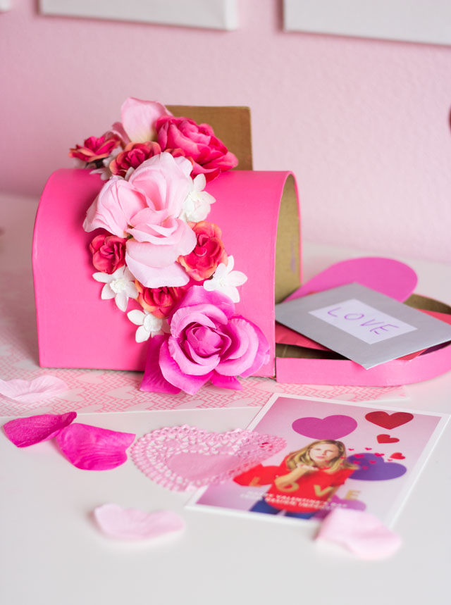 DIY Valentine's Day Mailbox - decorate a paper mache mailbox with flowers. Perfect for a girl Valentine box idea!