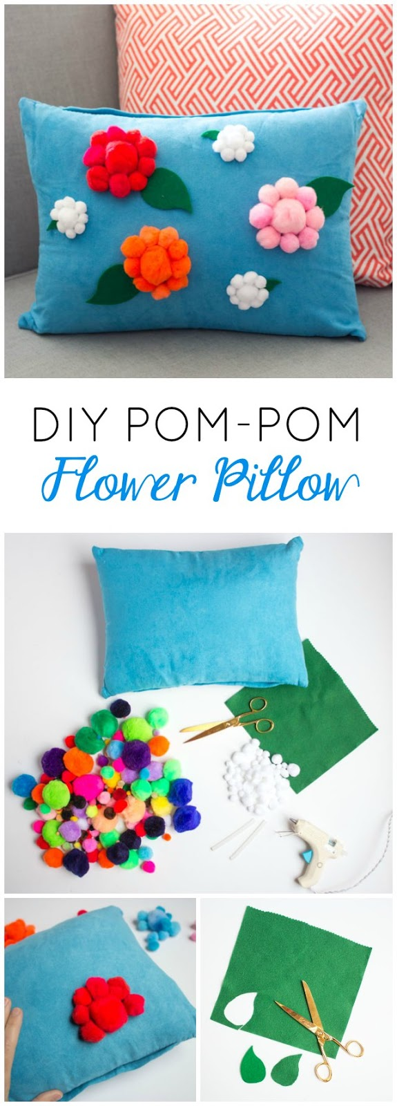 Make this pom-pom flower pillow in under an hour!