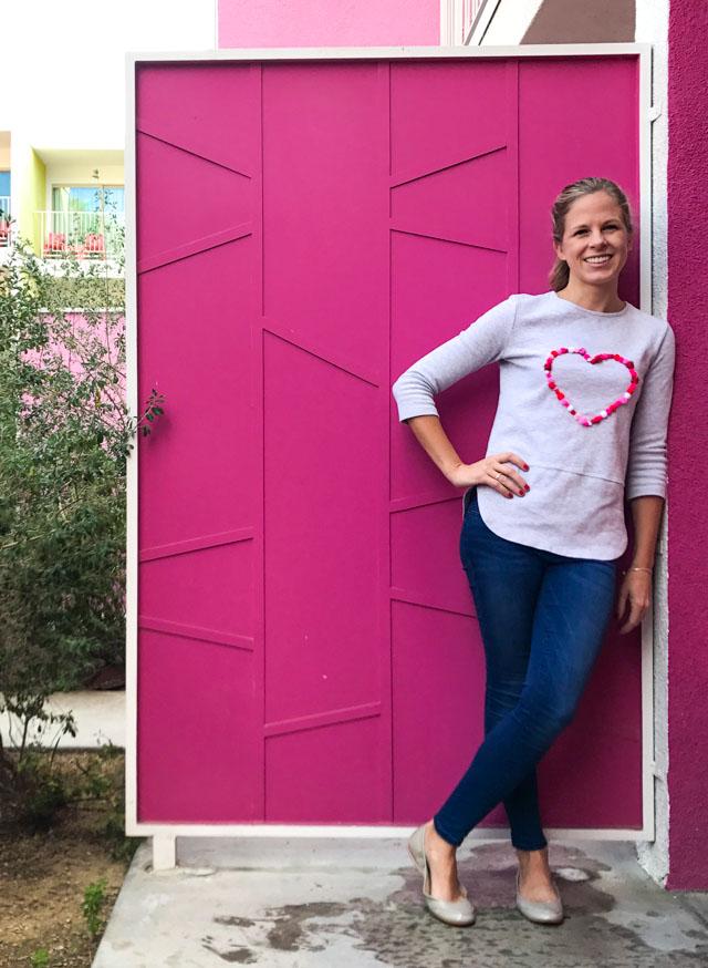 Such a fun DIY pom pom sweatshirt!