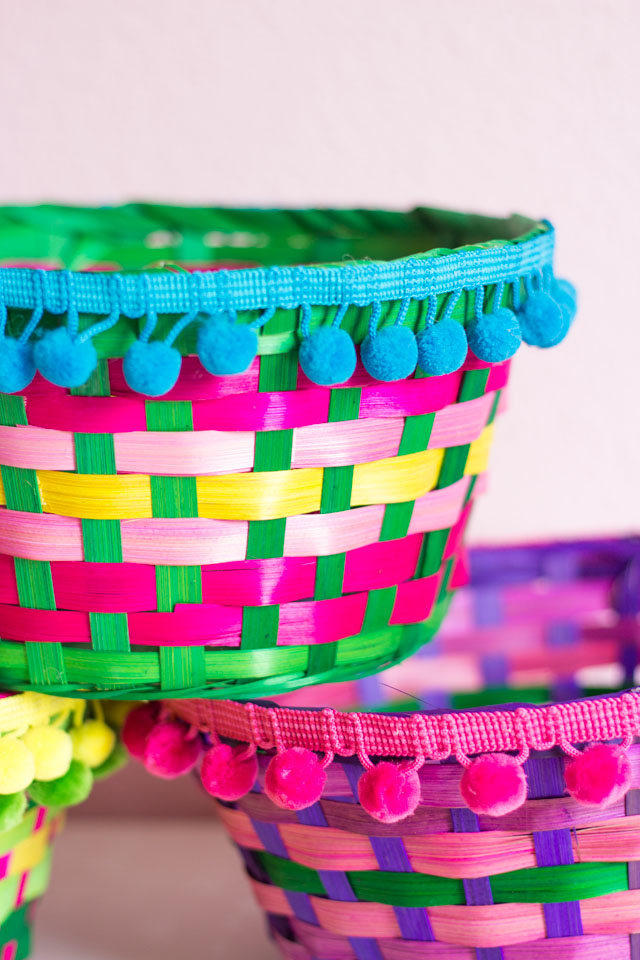 Transform Easter baskets into colorful boho storage in under 5 minutes for under $5!