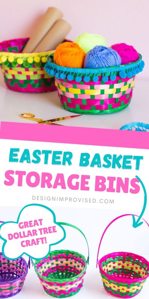 Storage bins made from Easter baskets