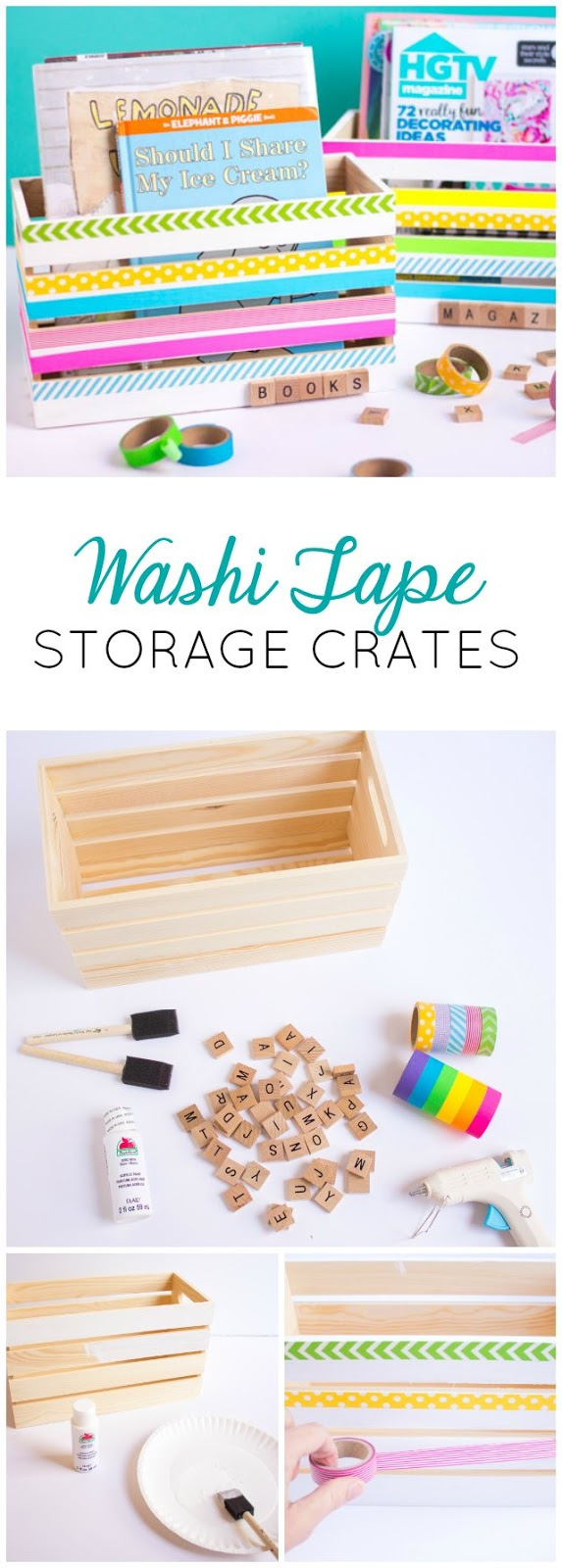 Such a fun washi tape craft idea - DIY wood storage crates perfect for books, craft supplies, and toys!