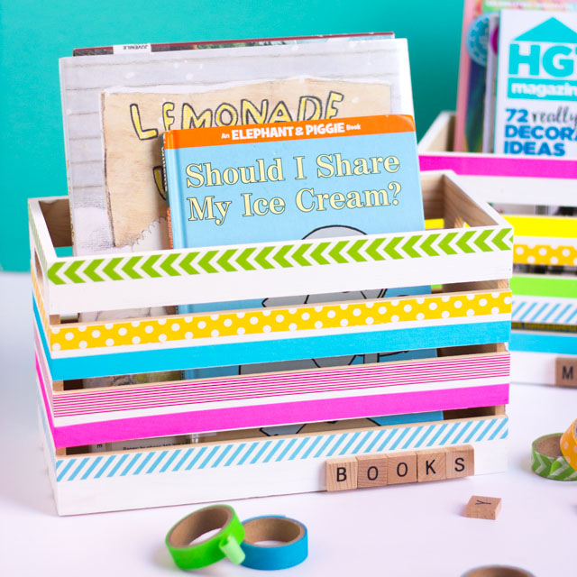 Decorate wood crates with washi tape for the prettiest DIY storage idea!