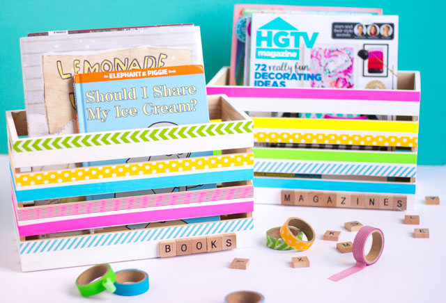 Decorate wood crates with washi tape for the prettiest DIY storage!
