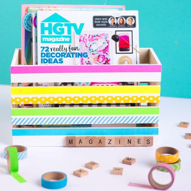 Such a fun washi tape craft idea - decorative wood storage boxes!